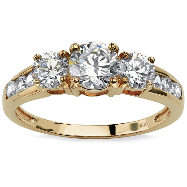PalmBeach 1.88 TCW Round Cubic Zirconia Engagement Anniversary Ring in 10k Gold Classic CZ