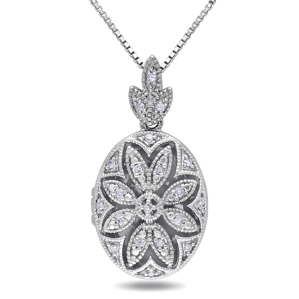 Miadora Sterling Silver Vintage Diamond Locket Necklace (H-I, I2-I3)
