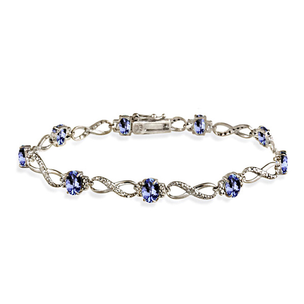 Glitzy Rocks Sterling Silver 5ct TGW Tanzanite and Diamond Accent Infinity Bracelet