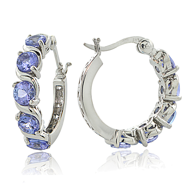 Glitzy Rocks Sterling Silver 2.75ct TGW Tanzanite S Design Hoop Earrings
