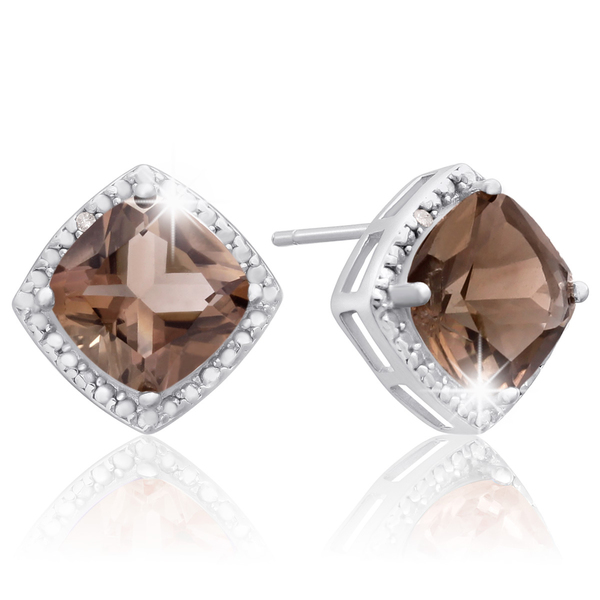 Sterling Silver 3 3/4ct Cushion-cut Smoky Quartz Diamond Accent Earrings