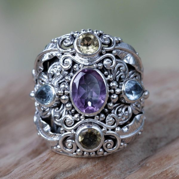Butterfly Queen Unique Artisan Design Multi Gemstone Cluster Womens Cocktail Ring (Indonesia)