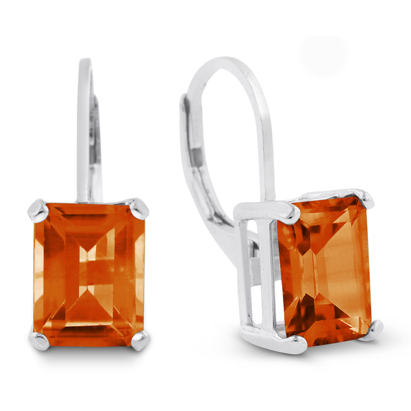 4 1/2 Carat Emerald Shape Created Padparadscha Sapphire Leverback Earrings In Sterling Silver