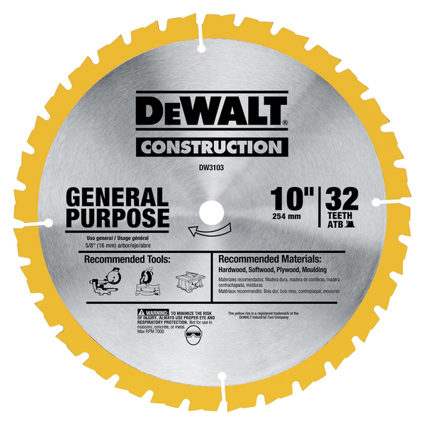 Dewalt DW3103 Large Diameter General Use Construction Blades