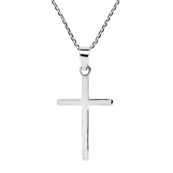 Simple Sleek Christian Cross .925 Sterling Silver Necklace (Thailand)