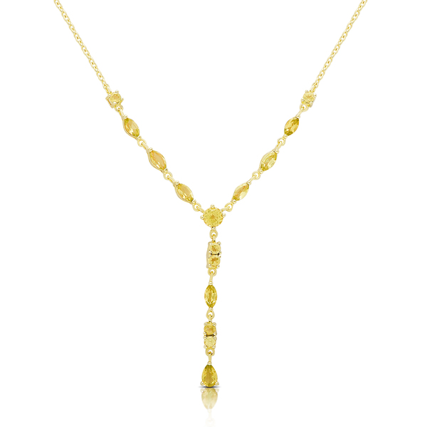 Dolce Giavonna Gold Over Sterling Silver Citrine 'Y' Necklace