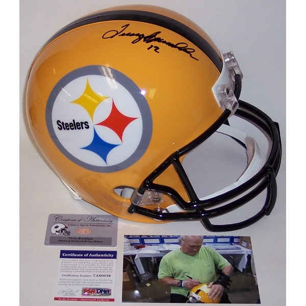 Terry Bradshaw Autographed Hand Signed Pittsburgh Steelers Yellow Full Size Helmet - PSA/DNA
