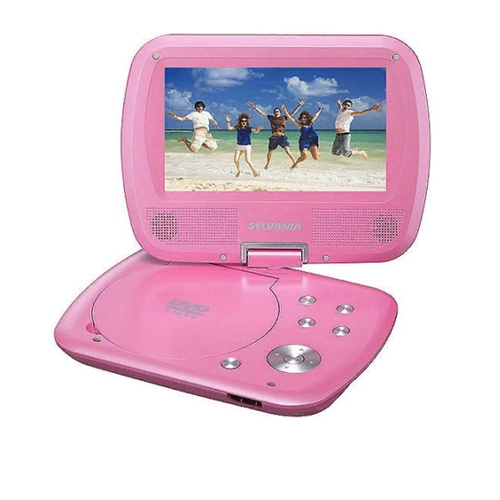 Sylvania SDVD7037-PINK 7-Inch Swivel Screen Portable DVD Player with 2.5 Hour Rechargeable Battery Pink - Manufacturer Refurbished